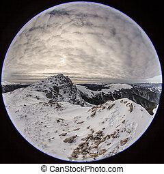 mountain landscape in winter.