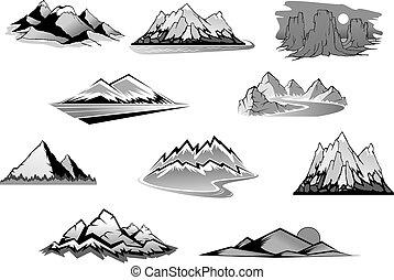 Mountain landscape isolated icon set. Mountain range, snowy...
