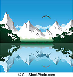 Mountain Landscape - Landscape with Mountains and Lake