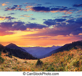 mountain landscape - Majestic colorful landscape in the...