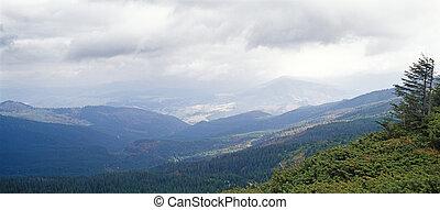 Mountain landscape in Carpathian mountain range, Ukraine.