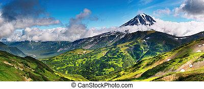 Mountain landscape - Mountain panorama with extinct volcano