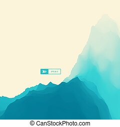 Mountain Landscape. Mountainous Terrain. Vector Illustration For Banner, Flyer, Book Cover, Poster. Abstract Background.