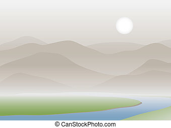 Mountains and plain covered with a fog