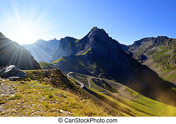 Mountain landscape near Col du Tourmalet in Pyrenees...