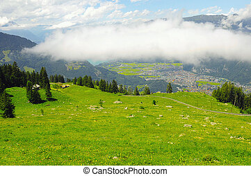 Mountain landscape of Swiss Alps.