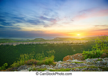 Mountain landscape on sunset. Composition of nature.