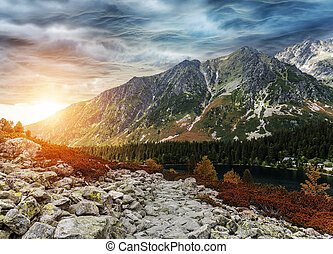Mountain landscape on the background of the lake. High Tatras.