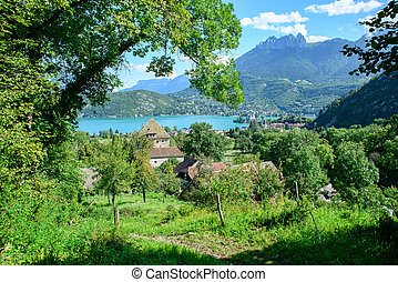 mountain landscape on the edges of Lake Annecy