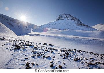 Svalbard - Mountain landscape on the island of Spitsbergen,...