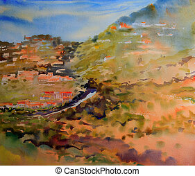 Mountain landscape painted by watercolor.