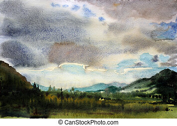 Mountain landscape painted by watercolor