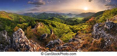 Mountain landscape panorama at spring at sunset