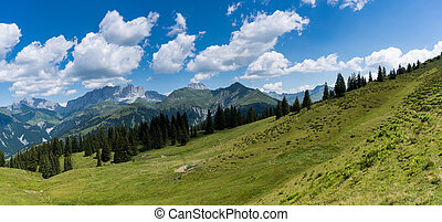 mountain landscape panorama in the Swiss Alps