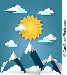 Mountain landscape paper art banner