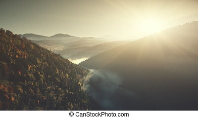 Mountain landscape scenery low fog aerial view - Mountain...