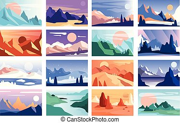 Mountain landscape set, scenes of nature in different time of year and day vector Illustration