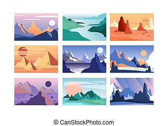 Mountain landscape set, scenes of nature in different time of year vector Illustration