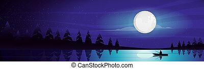 Mountain landscape, shining moon over night mountain lake