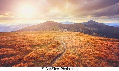 Mountain landscape. Slow motion 4K footage