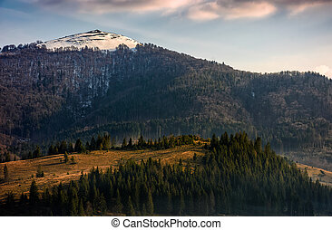 mountain landscape sunrise in springtime - mountain ridge...