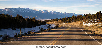 Mountain Landscape Surrounding Great Basin Nevada Highway Route