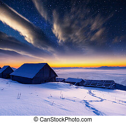 mountain landscape - The Milky Way over the winter mountains...