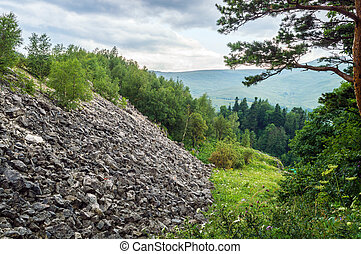 The stones on the slope