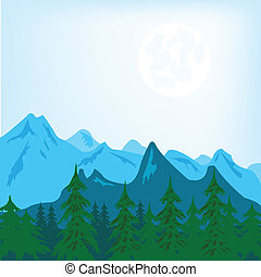 Mountain landscape - Vector illustration of the mountain ...