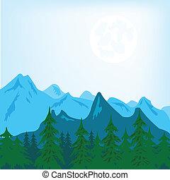 Mountain landscape - Vector illustration of the mountain ...