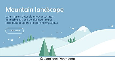 Mountain Landscape Web Banner. Skiing Scinery - Mountain...