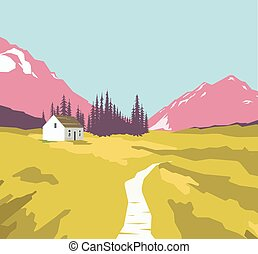 Mountain landscape with a lonely house