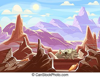 Mountain landscape with archaeological fossils, cartoon...