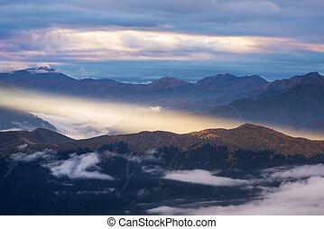 Mountain landscape with beautiful sunlight, Georgia, Caucasus