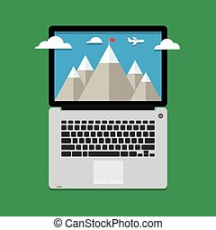 mountain landscape with clouds and aircraft