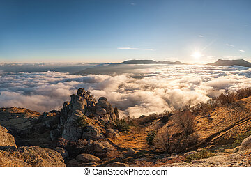 Mountain landscape with clouds