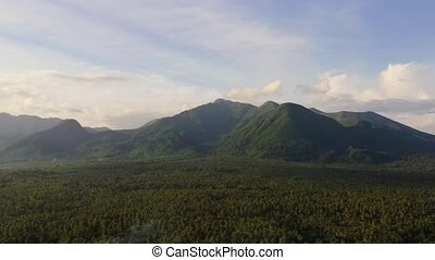 Mountain landscape with clouds. Mountains on the island of Luzon, Philippines.