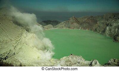 Mountain landscape with crater lake - crater acid lake Kawah...