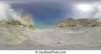 Mountain landscape with crater lake vr360 - vr360 workers...