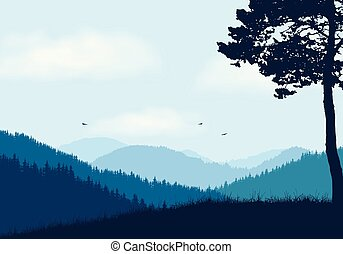 Mountain landscape with forest and hill, under blue sky with clouds and flying birds - with space for your text