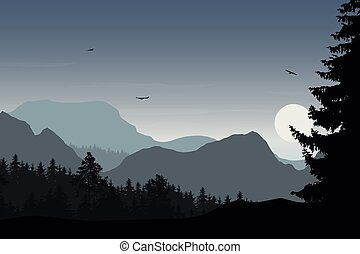 Mountain landscape with forest, under a grey sky with flying birds and sun