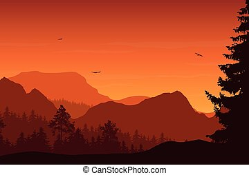 Mountain landscape with forest, under a orange sky