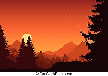 Mountain landscape with forest, under a orange sky with flying birds and sun