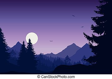 Mountain landscape with forest, under a purple sky with flying birds
