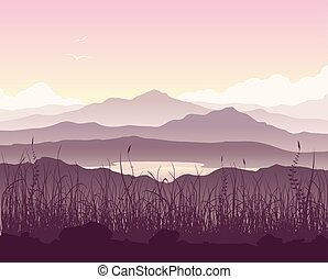Mountain landscape with grass and huge lake