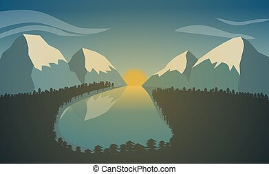 Mountain landscape with lake and forest. Sunrise in the mountains.