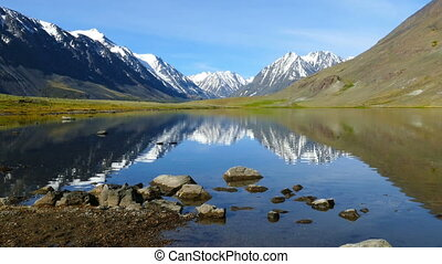 mountain landscape with lake in Altay, zoom in - mountain...