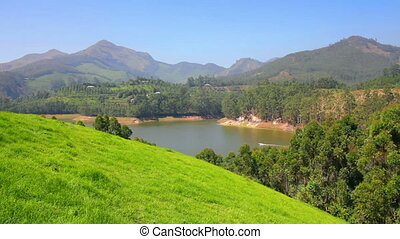 mountain landscape with lake in Munnar Kerala India