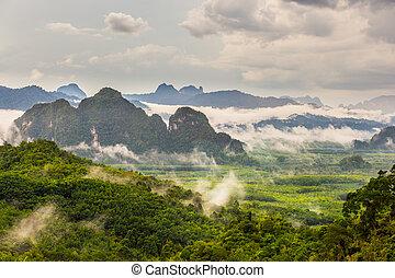 Mountain landscape with mist