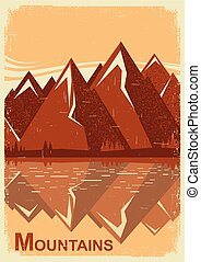 Mountain landscape with mountain lake. Vector old poster